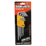 Набор ключей торкс Г-образных длинных 9пр. BaumAuto BM-03026L (T10,T15,T20,T25,T27,T30,T40,T45,T50)