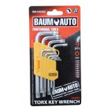 Набор ключей торкс Г-образных коротких 9пр. BaumAuto BM-03026S (T10,T15,T20,T25,T27,T30,T40,T45,T50)