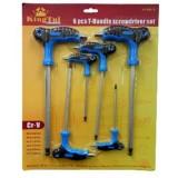 Набор ключей 6-гранных KingTul kraft KT3031K с Т-образной ручкой 6пр.(H3,H4*100мм,H5,H6*150мм,H8,H10*200мм)