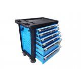 Тележка инструментальная KINGTUL profi KT50006B  6-ти полочная (синяя) с пластиковой защитой корпуса + перфорация