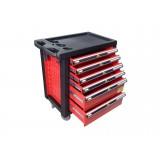 Тележка инструментальная KINGTUL profi KT50006R  6-ти полочная (красная) с пластиковой защитой корпуса + перфорация