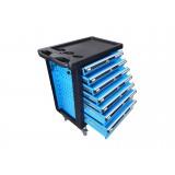 Тележка инструментальная KINGTUL profi KT50007B  7-ми полочная (синяя) с пластиковой защитой корпуса + перфорация