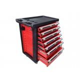Тележка инструментальная KINGTUL profi KT50007R  7-ми полочная (красная) с пластиковой защитой корпуса + перфорация