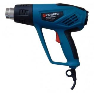 Фен промышленный Forsage HG55-2000LED электрический с индикатором температуры и насадками (220В, 2000Вт, макс.темп-ра 600°C, 250-500л/мин)