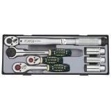 Набор трещоток Force T30712 с динамометрическим ключом и свечными головками 7пр. 3/8